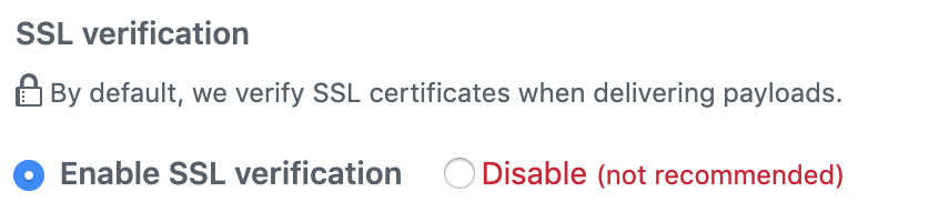 Github webhooks SSL verification